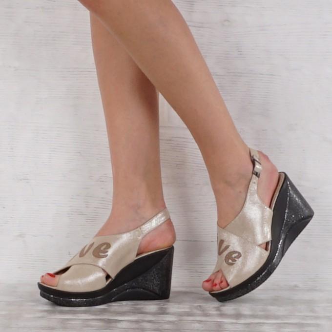 Дамски сандали естествена кожа GS 7082