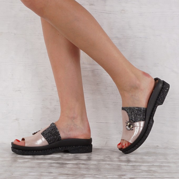 Дамски чехли естествена кожа GS 7142