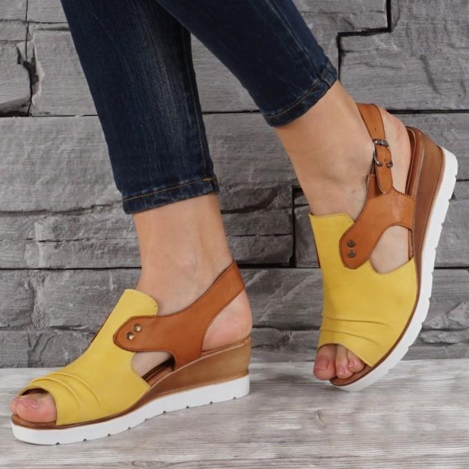 Дамски сандали естествена кожа GS 8077