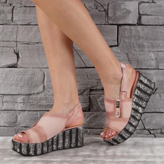 Дамски сандали естествен набук VISINI 7890