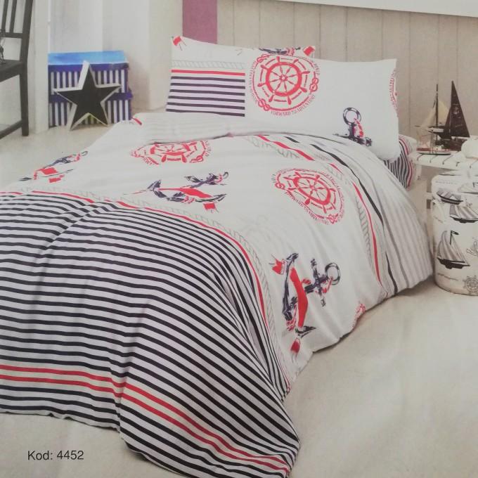 спален комплект-единичен 4452-Poplin памук 160x220